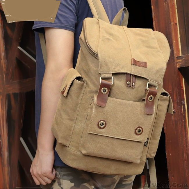 Retro Men s Canvas Splicing Leather Belts School Laptop Backpack Large  Capacity Outdoor Travel Rucksack f96cecd8d7