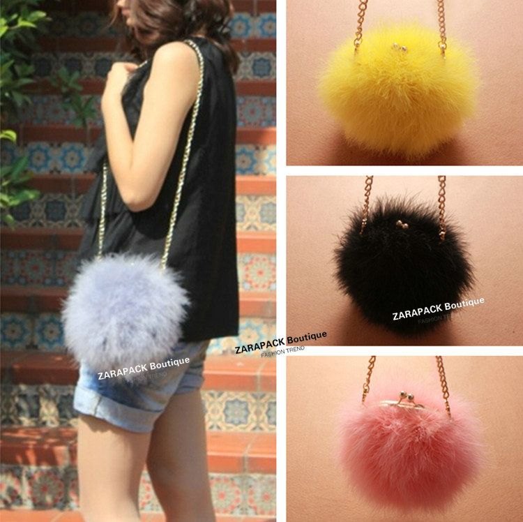 7cb319d23e New designer round Fluffy feather Women shoulder bag faux fur bag clutch  Chain purse-in Shoulder Bags from Luggage   Bags on Aliexpress.com