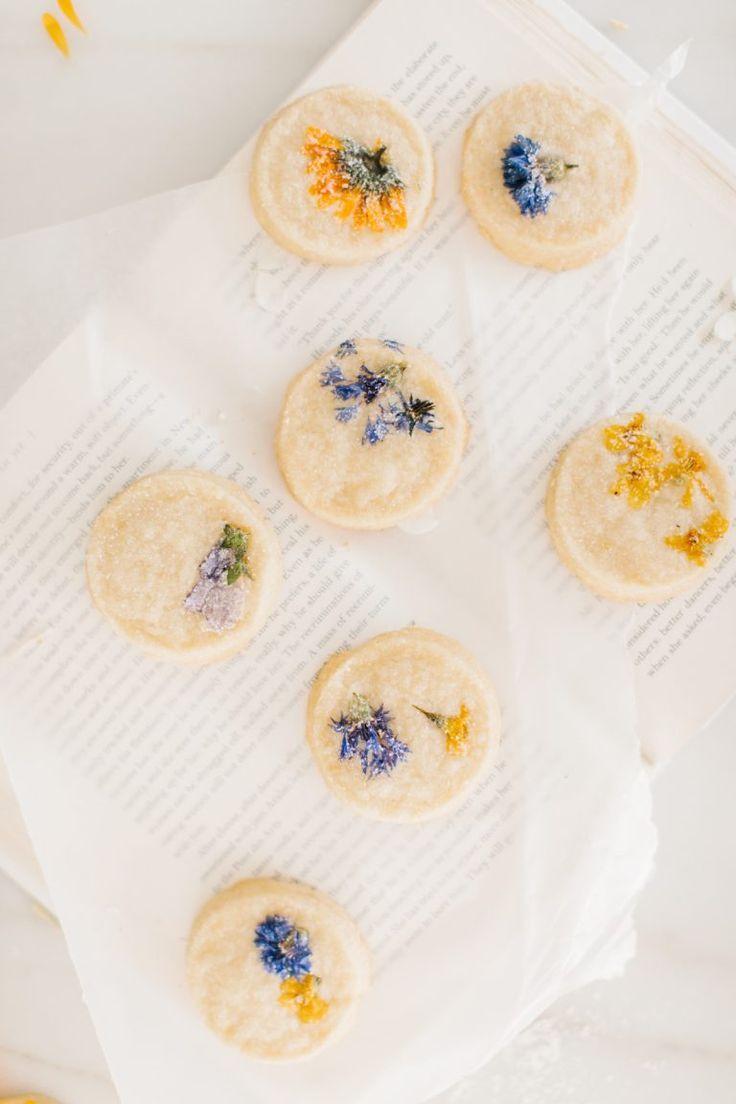 Pressed Flower Short Bread Cookies