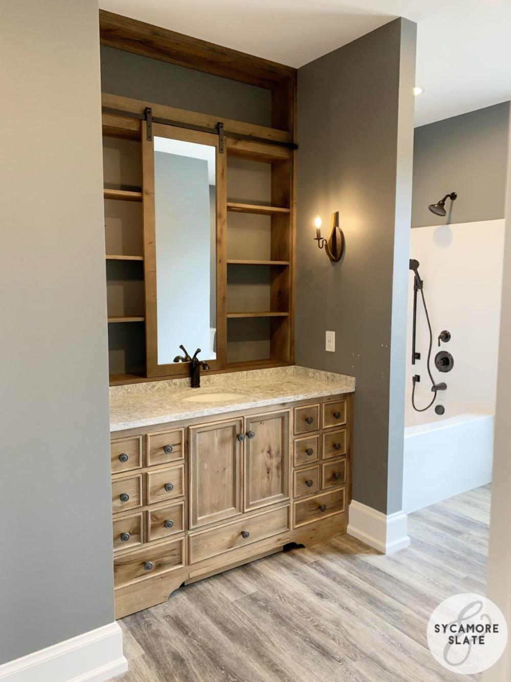 Beautiful Vanity With Barn Door Mirror Mirror Door Barn Door Sliding Barn Door Bathroom [ 1333 x 1000 Pixel ]