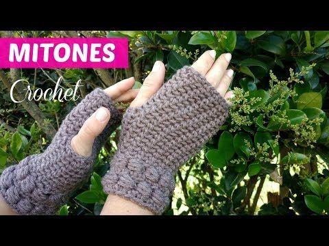 Guantes sin dedos tejidos a crochet tutorial - YouTube | mitones ...