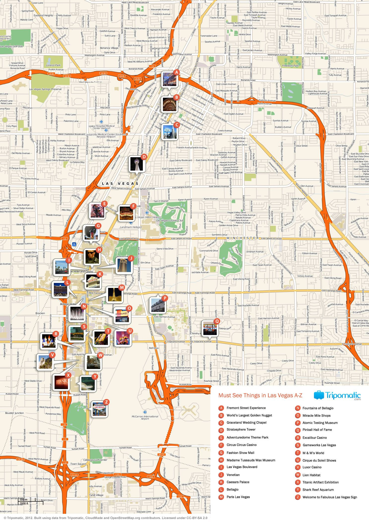Pictures Of Las Vegas Attractions Map Of Las Vegas Attractions - Las vegas nevada usa map