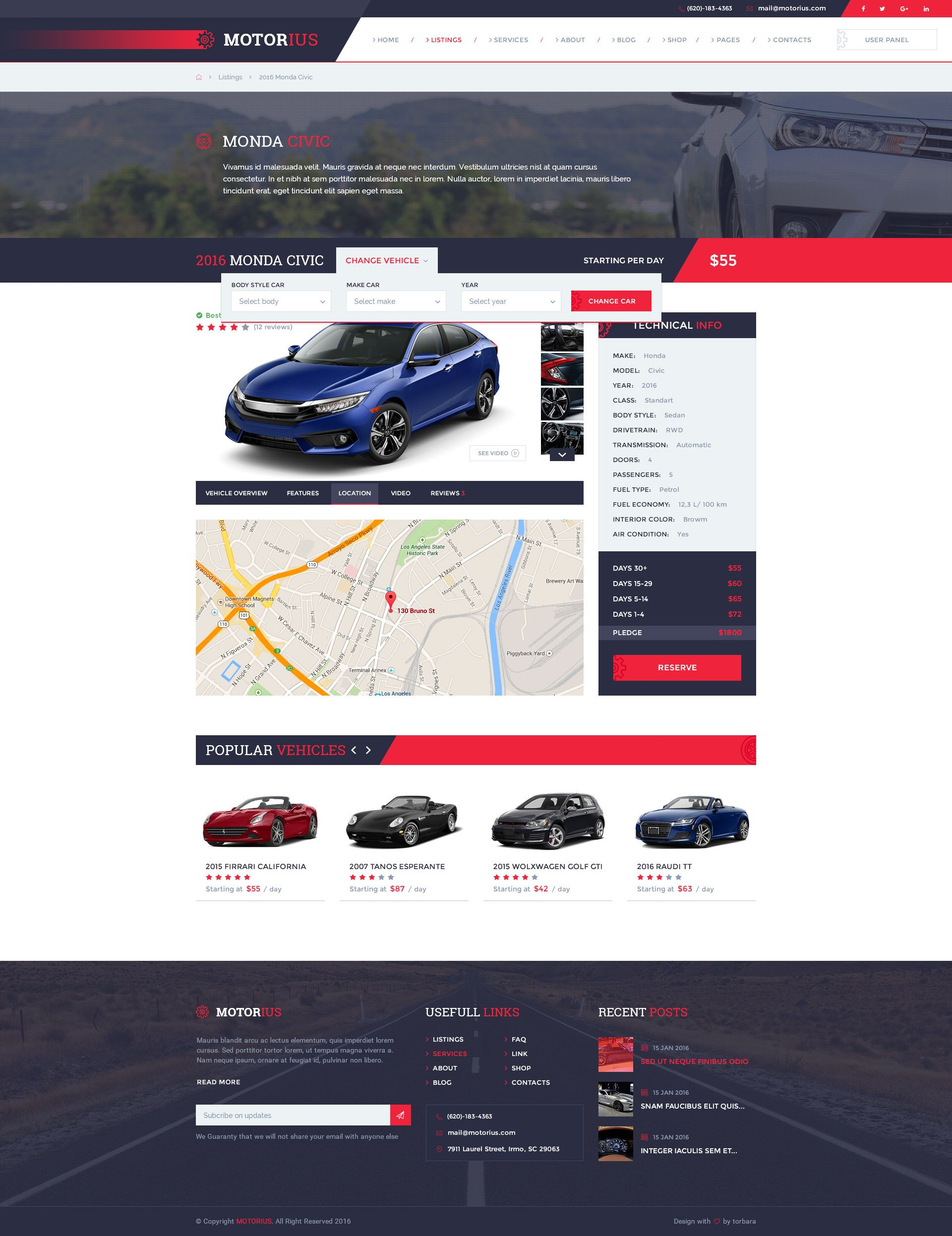 Motorius — Exclusive Sell/Rent Cars PSD Template | Business