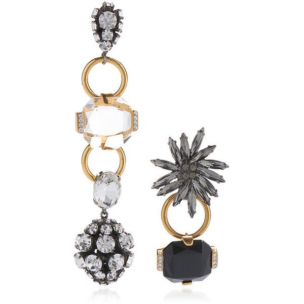 Marni     Asymmetrical Earrings with Strass in Black and Gold (3.285 RON) ❤ liked on Polyvore featuring jewelry, earrings, silver, black gold jewellery, earring jewelry, silver jewelry, flower earrings and black gold earrings