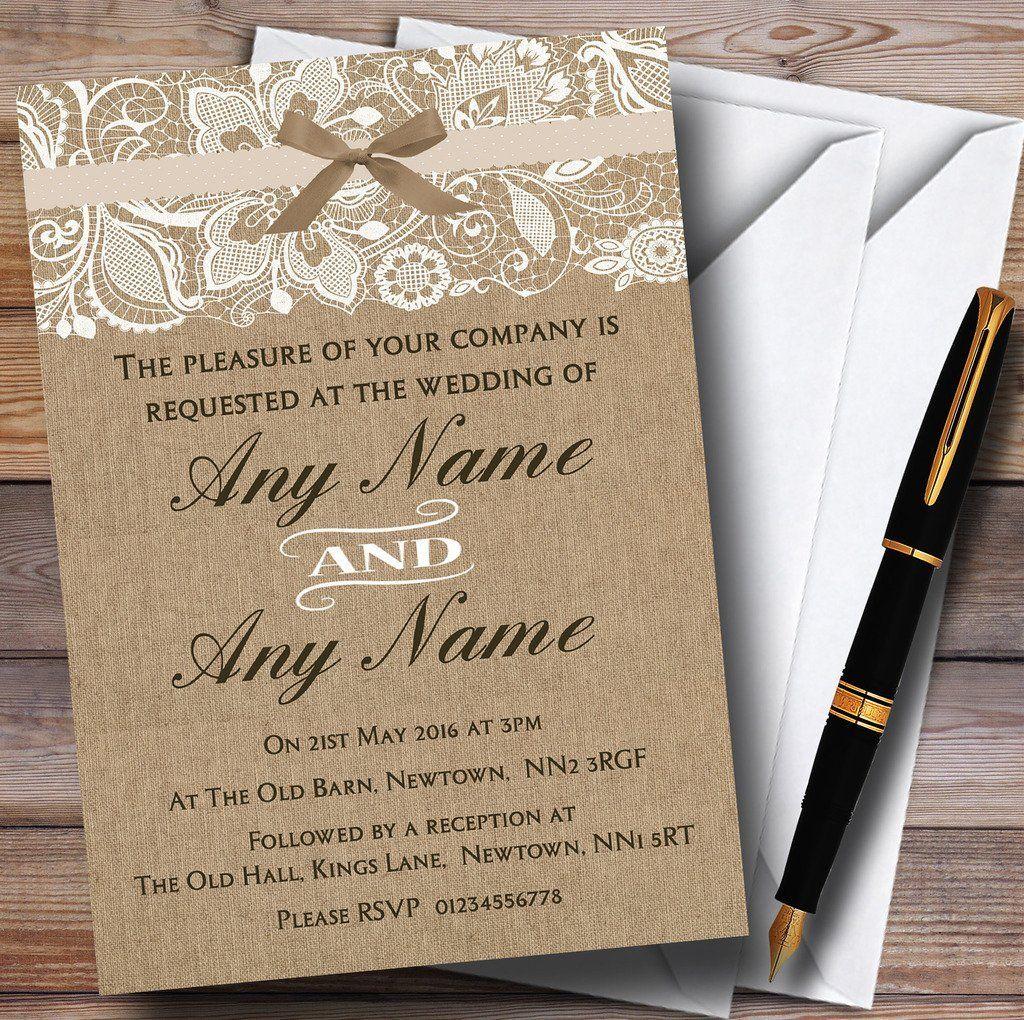 Vintage burlap lace personalized wedding invitations wedding on a vintage burlap lace personalized wedding invitations wedding on a budget diy do solutioingenieria Choice Image