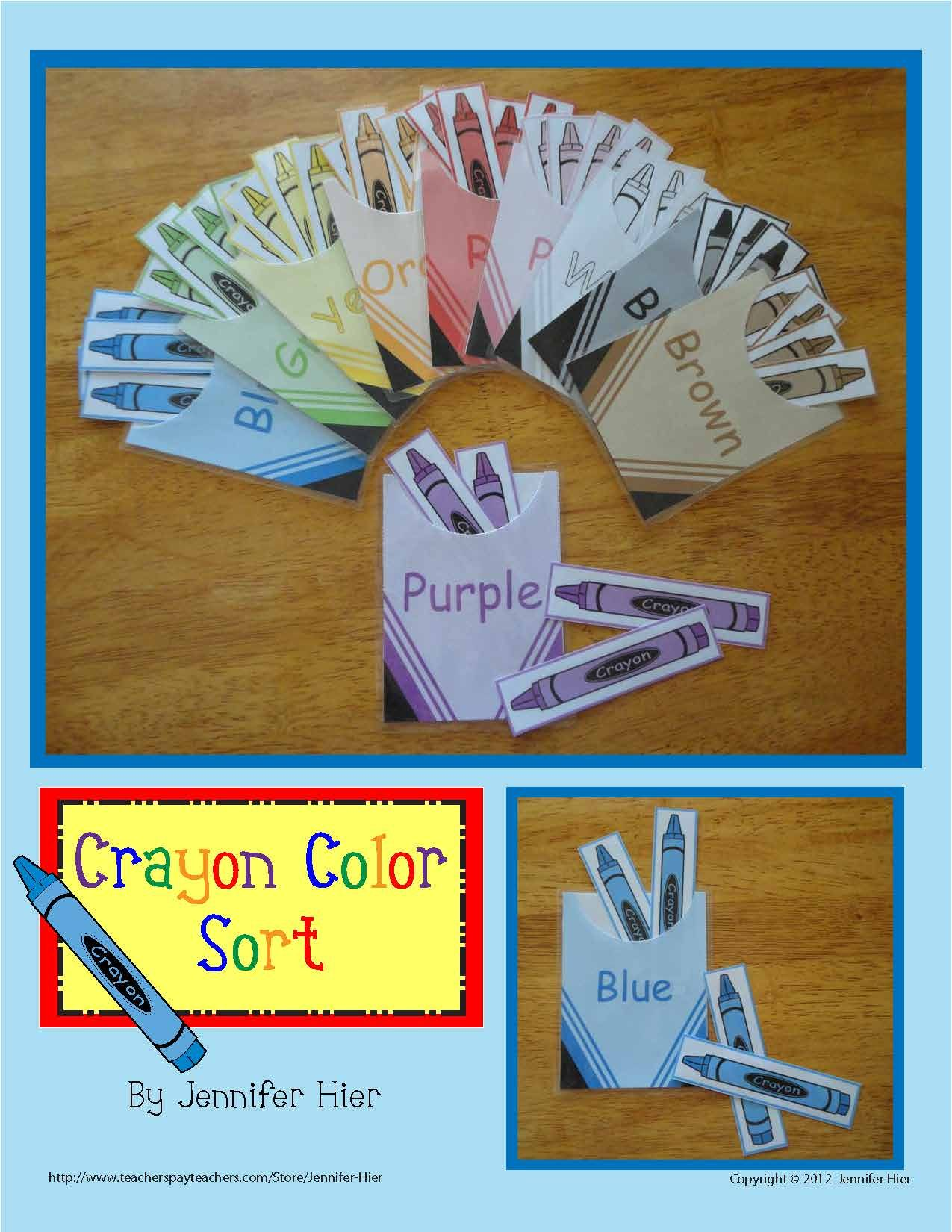 Color Sorting Crayon Color Match Activity