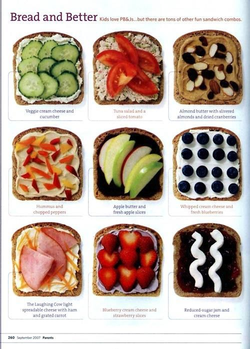 I love this! Different ideas for sandwiches! Ideas para preparar sándwiches diferentes, sanos y deliciosos