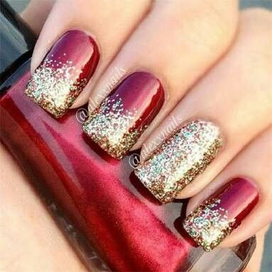 Red Ombre Nails Christmas.Red Golden Nail Art Nail Art Christmas Nails Nails