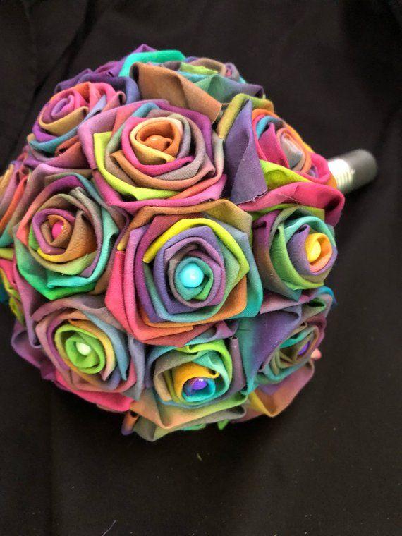 Tye Dye Rainbow Fabric Flower Wedding Bouquet Alternative Wedding