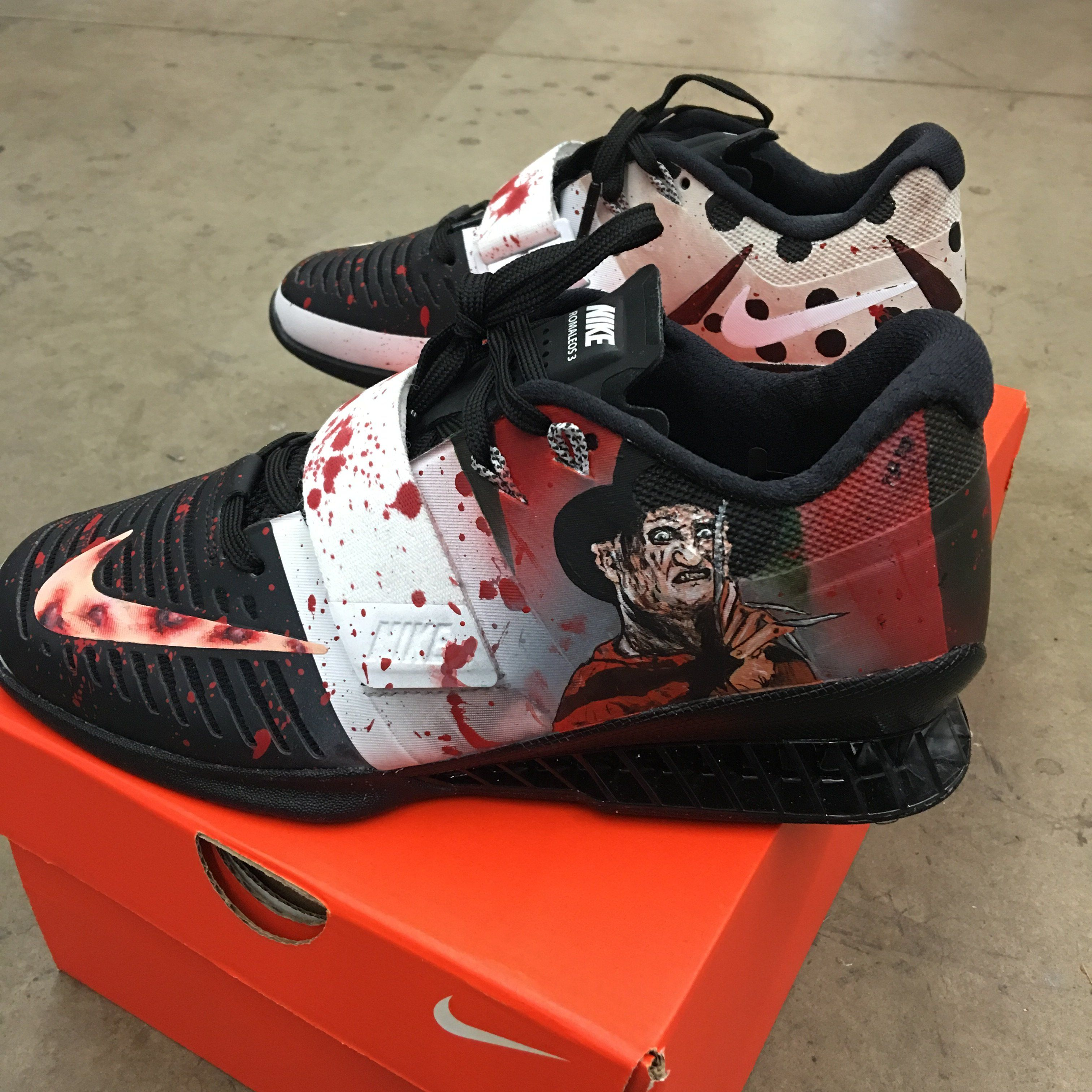 100% authentic 80fc4 e65d0 These custom hand painted Nike Romaleos 3 are Freddy vs. Jason Theme. One  shoe has the red and green stripes on the heel representing Freddy Kruger s  ...