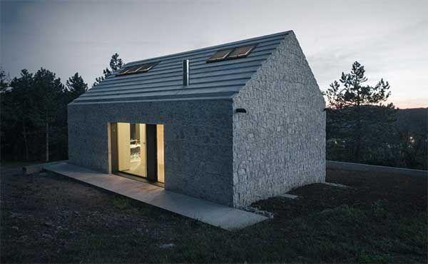 Modernes Monolithisches Kleines Haus Ohne Dachuberstand