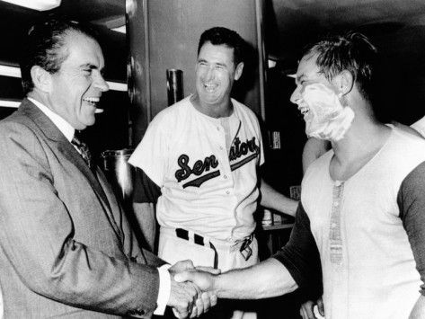 President Richard Nixon Greets Washington Senators Catcher Jim French after their Win over Brewers Photographic Print from AllPosters.com - $29.99