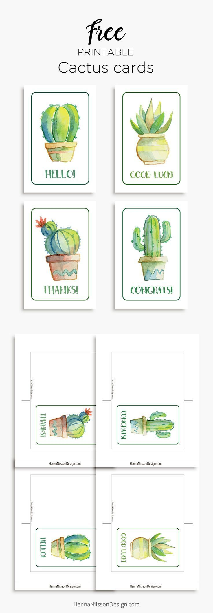 Printable cactus cards  Good luck Hello Thanks Congrats Printable cactus cards  Good luck Hello Thanks Congrats