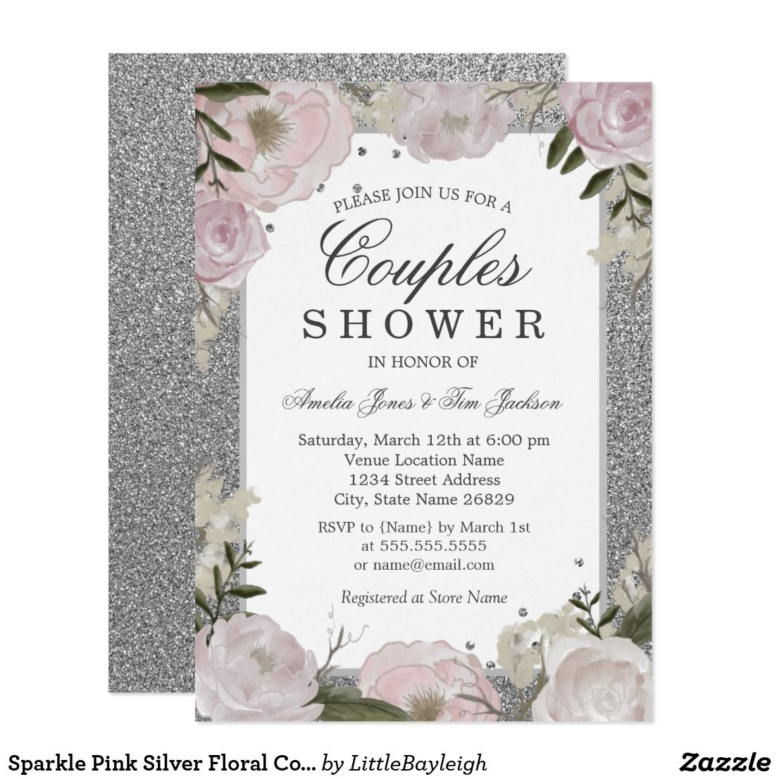 03d21f89772f Sparkle Pink Silver Floral Couple Shower Card