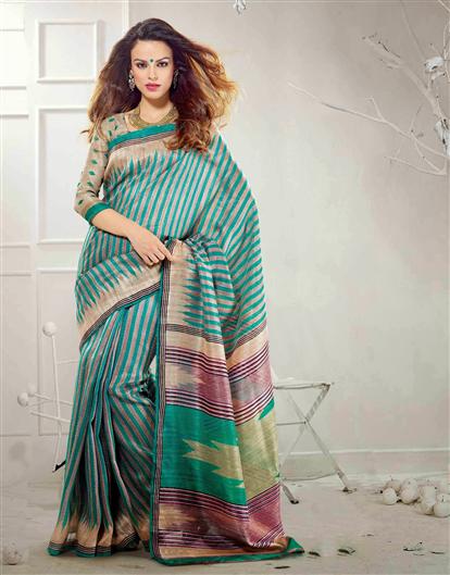sky blue shaded bhagalpuri silk saree @ only USD 27