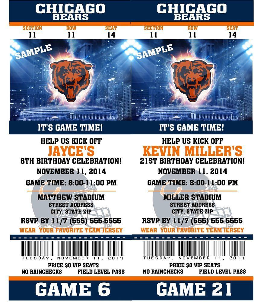 Printable Chicago Bears Nfl Football Birthday Party Invitat