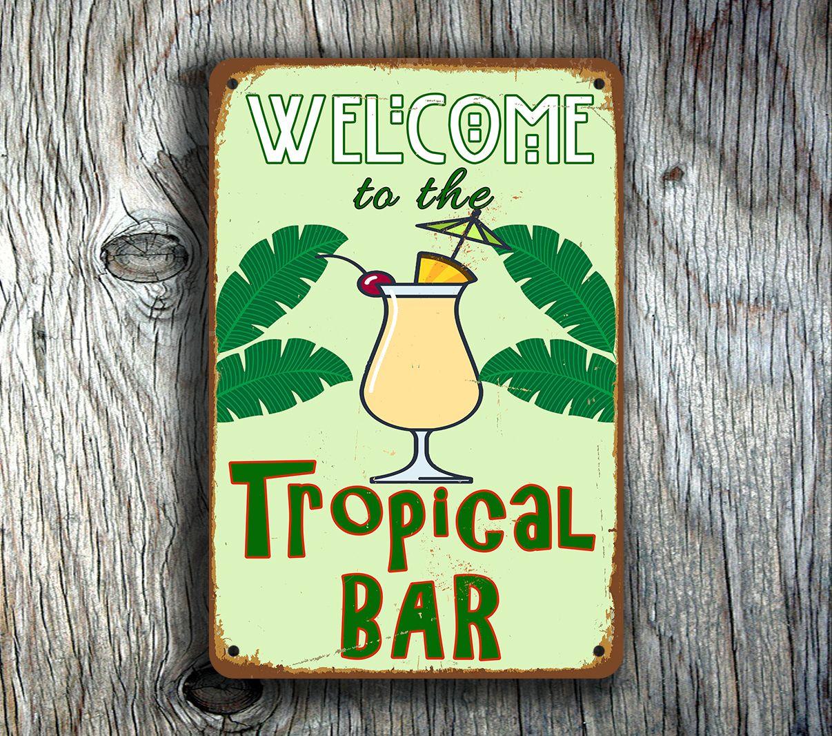 Bar Decor Signs Tropical Bar Sign  Home Bar Decor Httpwwwclassicmetalsigns