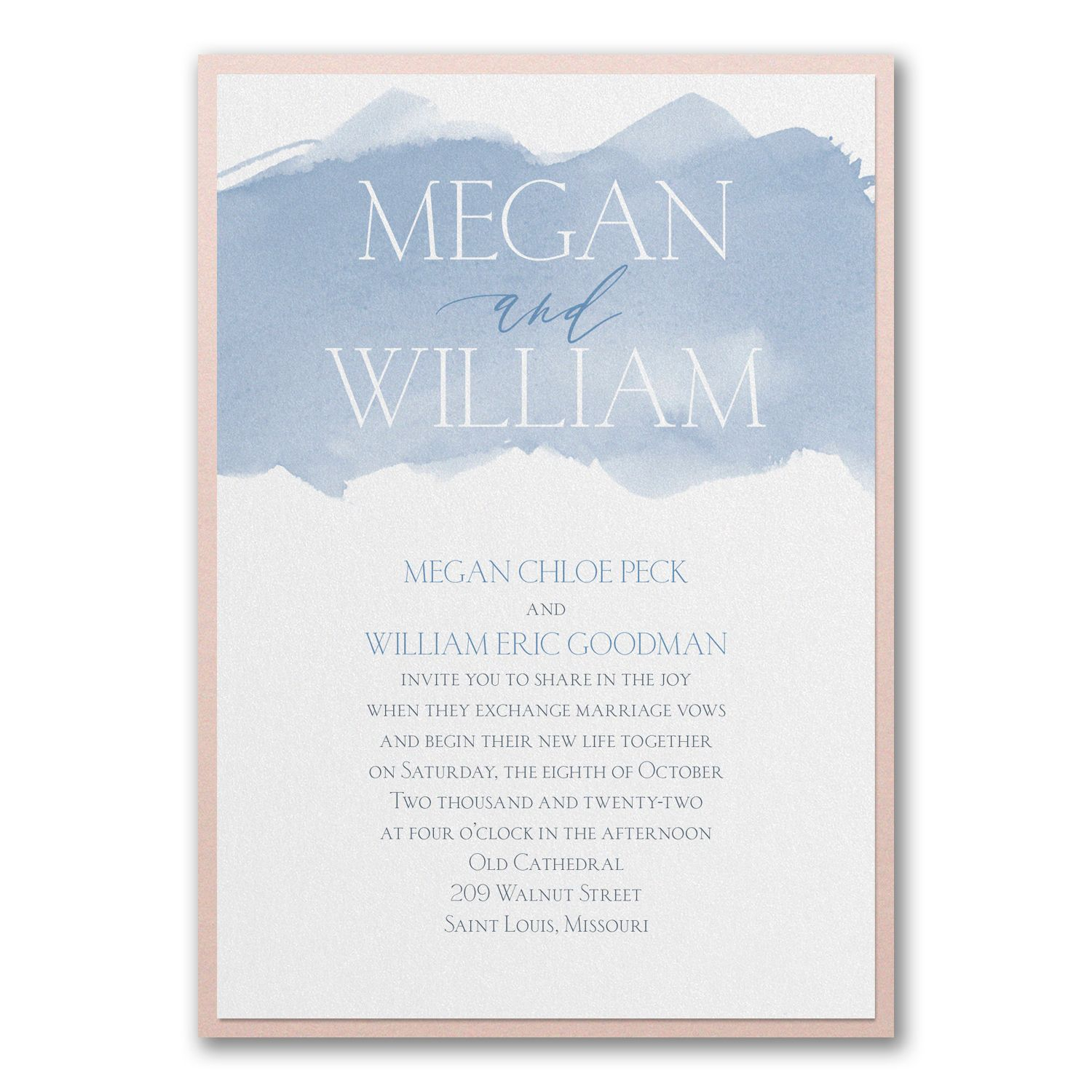Carlson Craft Pocket Wedding Invitations: Picturesque Watercolor - Invitation With Backer