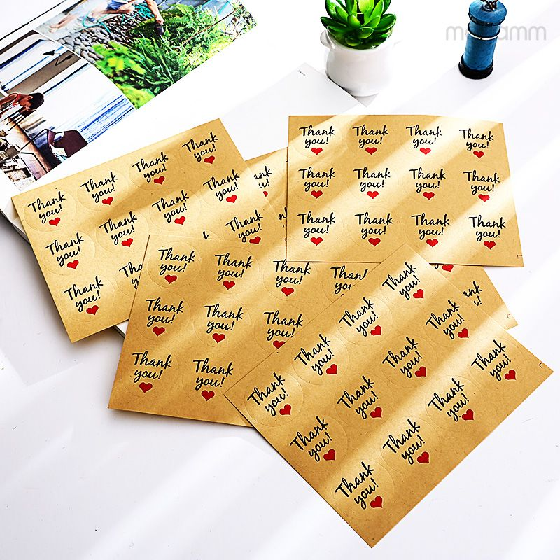 6 sheet lot Cute Creative Thank You Love Self-adhesive Stickers Kraft Label  Sticker 39fac31dba56