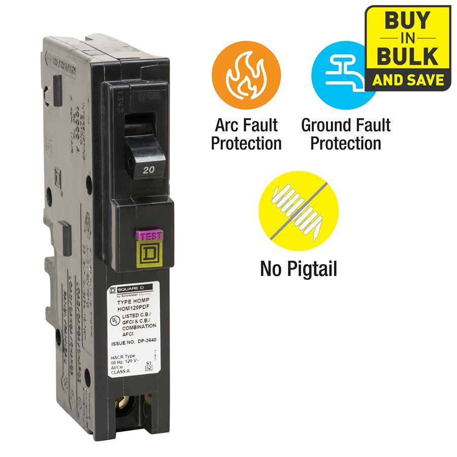 Square D Homeline 20 Amp 1 Pole Dual Function Afci Gfci Circuit