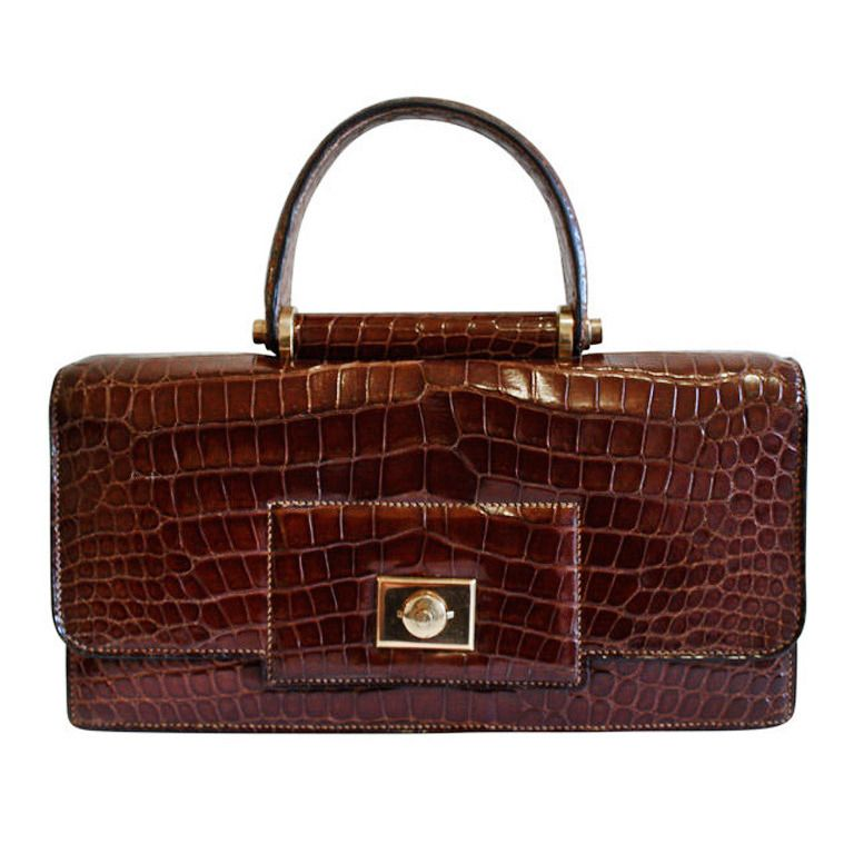 eac7eea973c9 1940 s HERMES crocodile top handle bag with geometric hardware ...