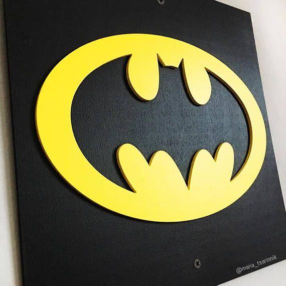 Set of 3 wooden wall decor Superheroes. Poster Batman, Superman ...