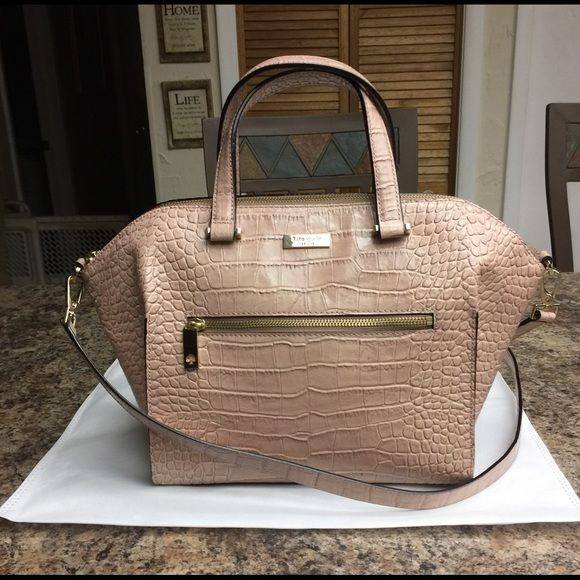 Kate Spade Embossed Grey Croc Leather Satchel Crocodile With Gold