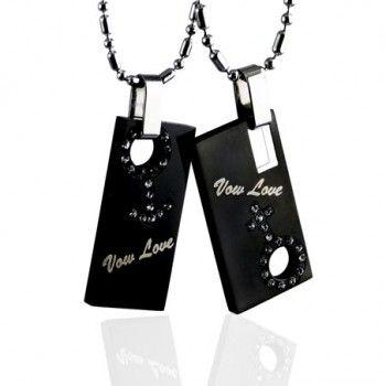 Fashion Sweetheart Boy And Girl Symbol Black Titanium Necklace