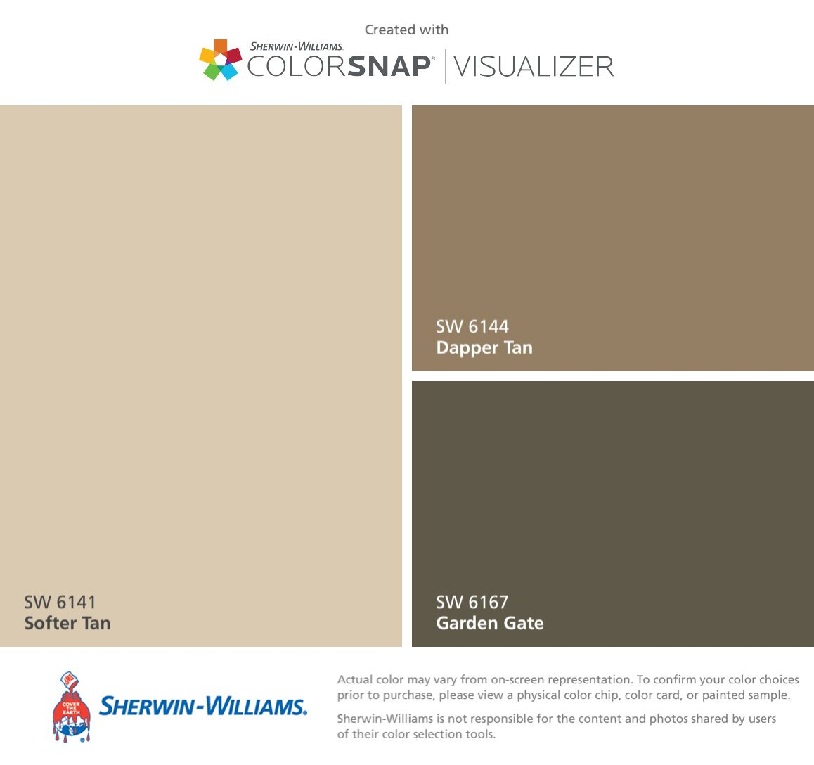 i found these colors with colorsnap visualizer for iphone by sherwin williams softer tan sw. Black Bedroom Furniture Sets. Home Design Ideas