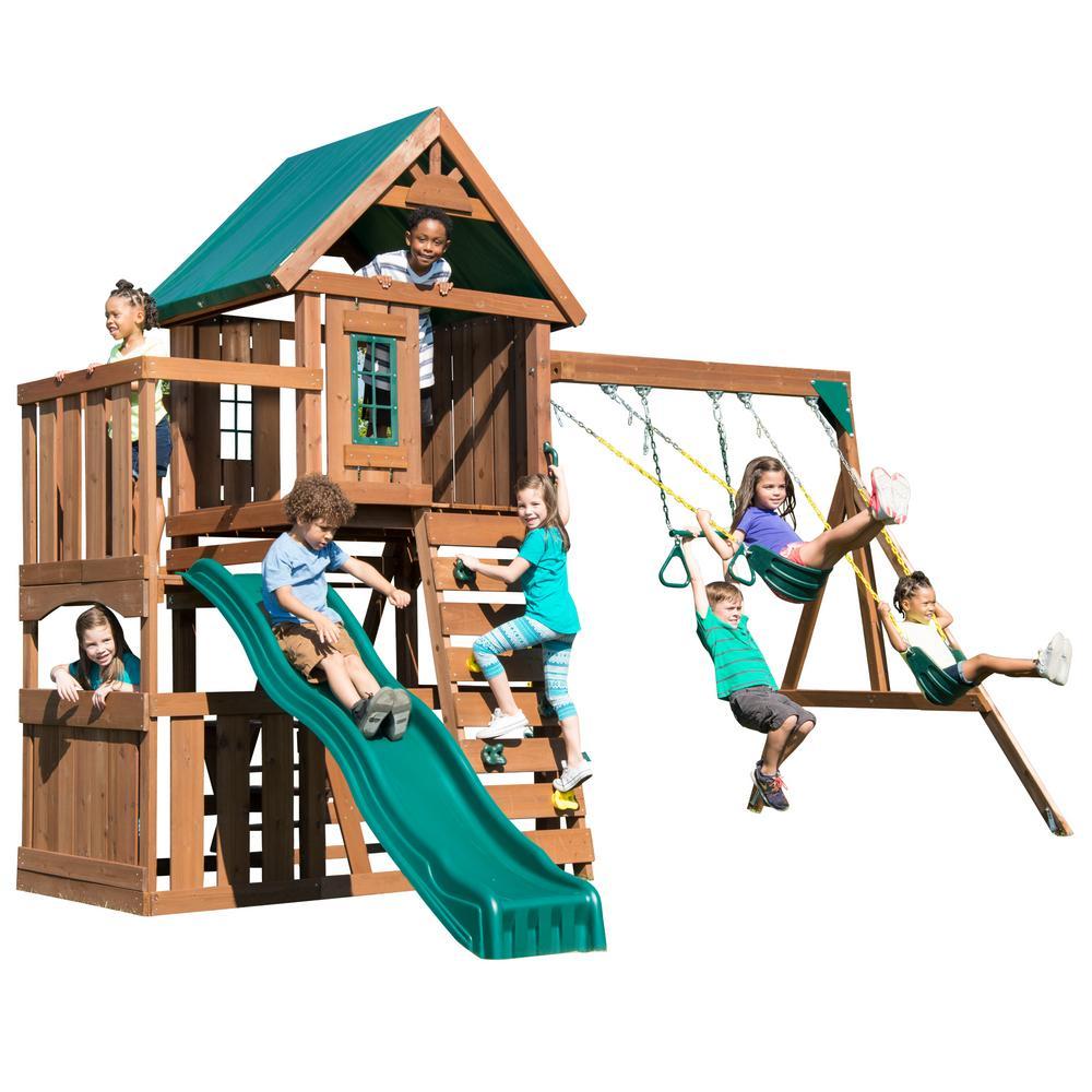 Swing N Slide Playsets Elkhorn Ready To Assemble Swing Set Ws 8357 Backyard Playset Swing Slide Backyard Play