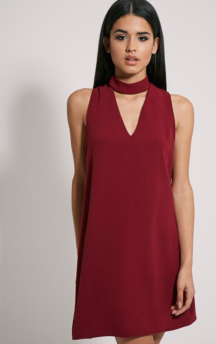 de3aa57a2ac0 Cinder Burgundy Cut Out Neck Shift Dress - Dresses - PrettylittleThing