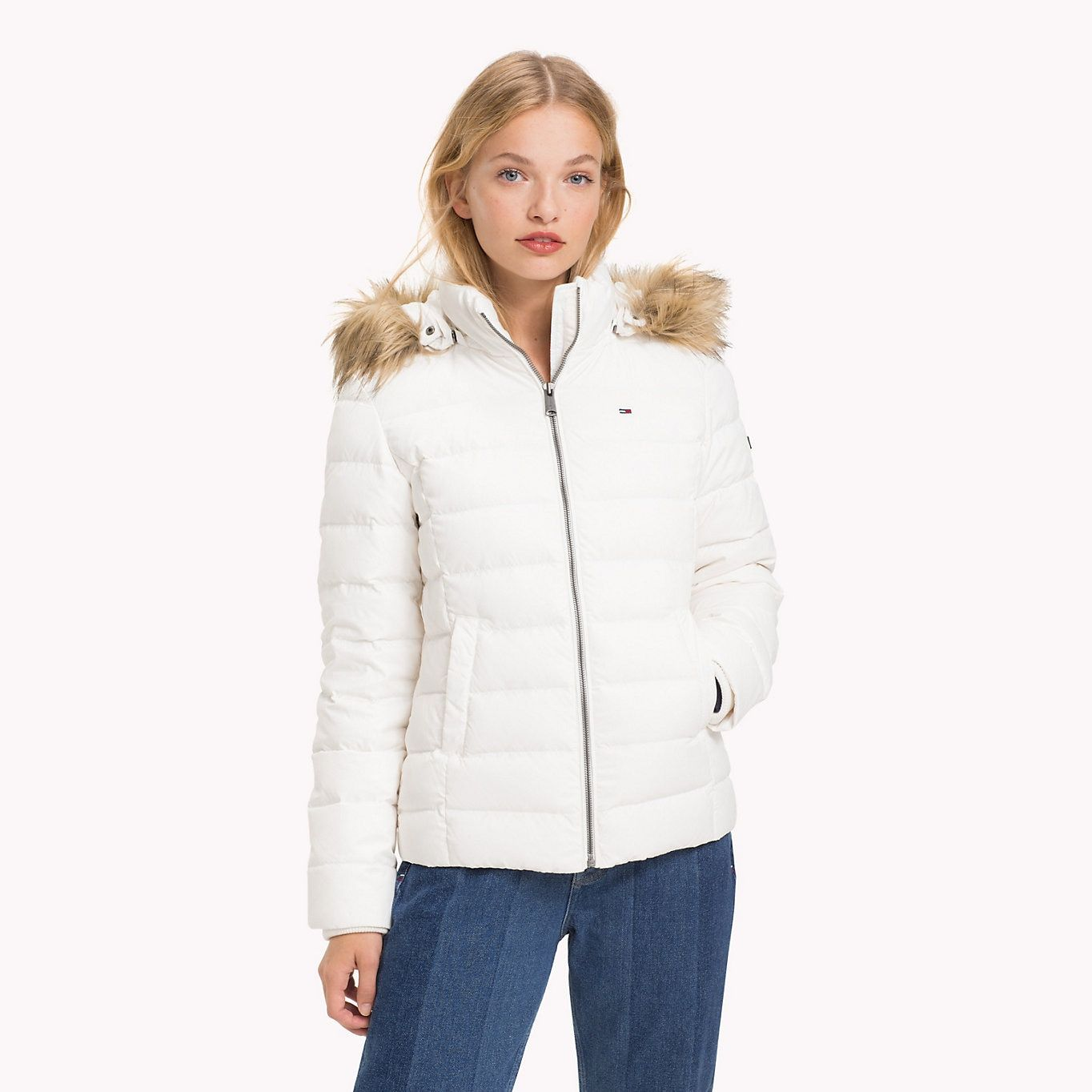 Tommy Jeans Sustainable Padded Down Jacket Snow White Tommy Jeans Women Main Image Womenswear Fashion Fashion Jackets For Women [ 1364 x 1364 Pixel ]
