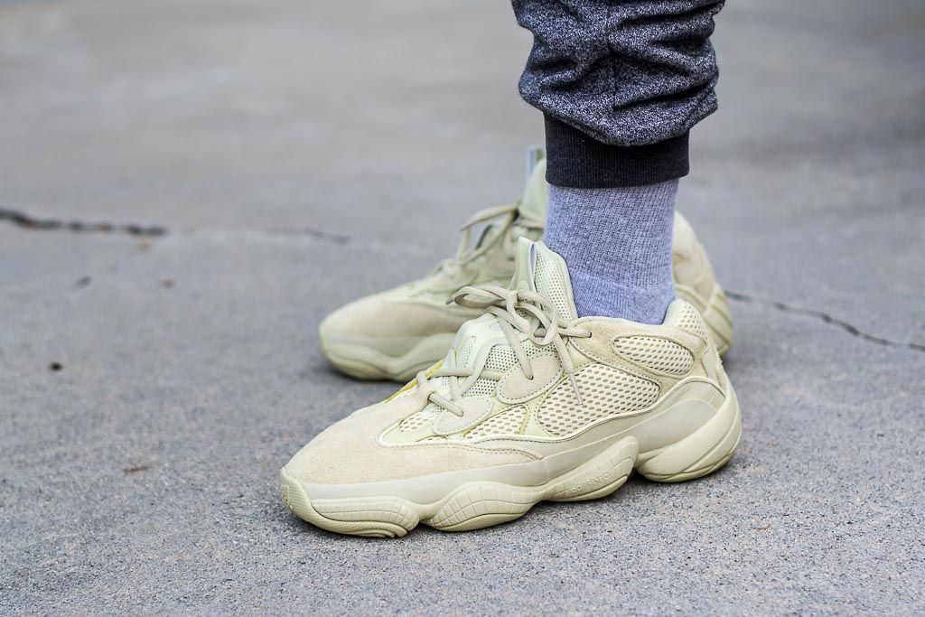 huge discount d9c4b aafc5 Adidas Yeezy 500 Supermoon Yellow On Feet Sneaker Review ...