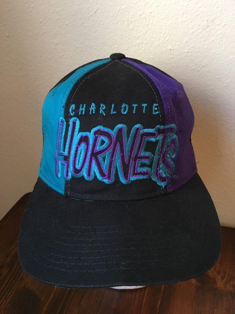 80910bed5863e Vintage Charlotte Hornets Snapback Hat Ball Cap 1990s  Starter   CharlotteHornets