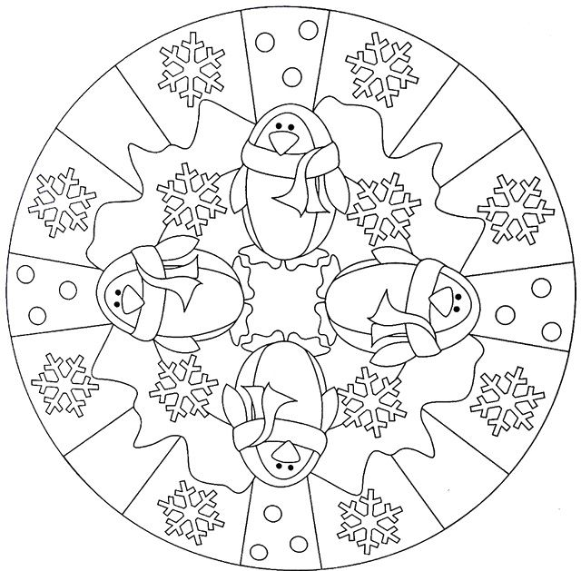 Penguin Winter Mandala Coloring