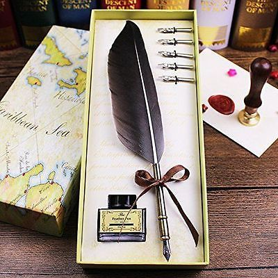 Writing-quill-pen-antique-peacock-feather-quill-pen-and-ink-set-Copper
