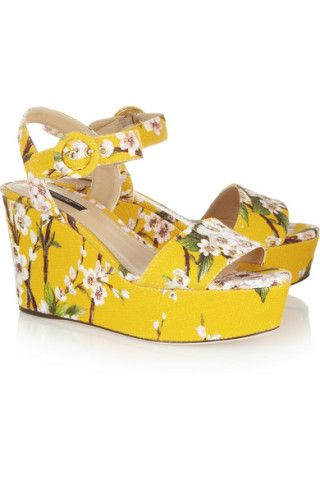 Dolce & Gabbana | Blossom-print canvas wedge sandals | NET-A-PORTER.COM
