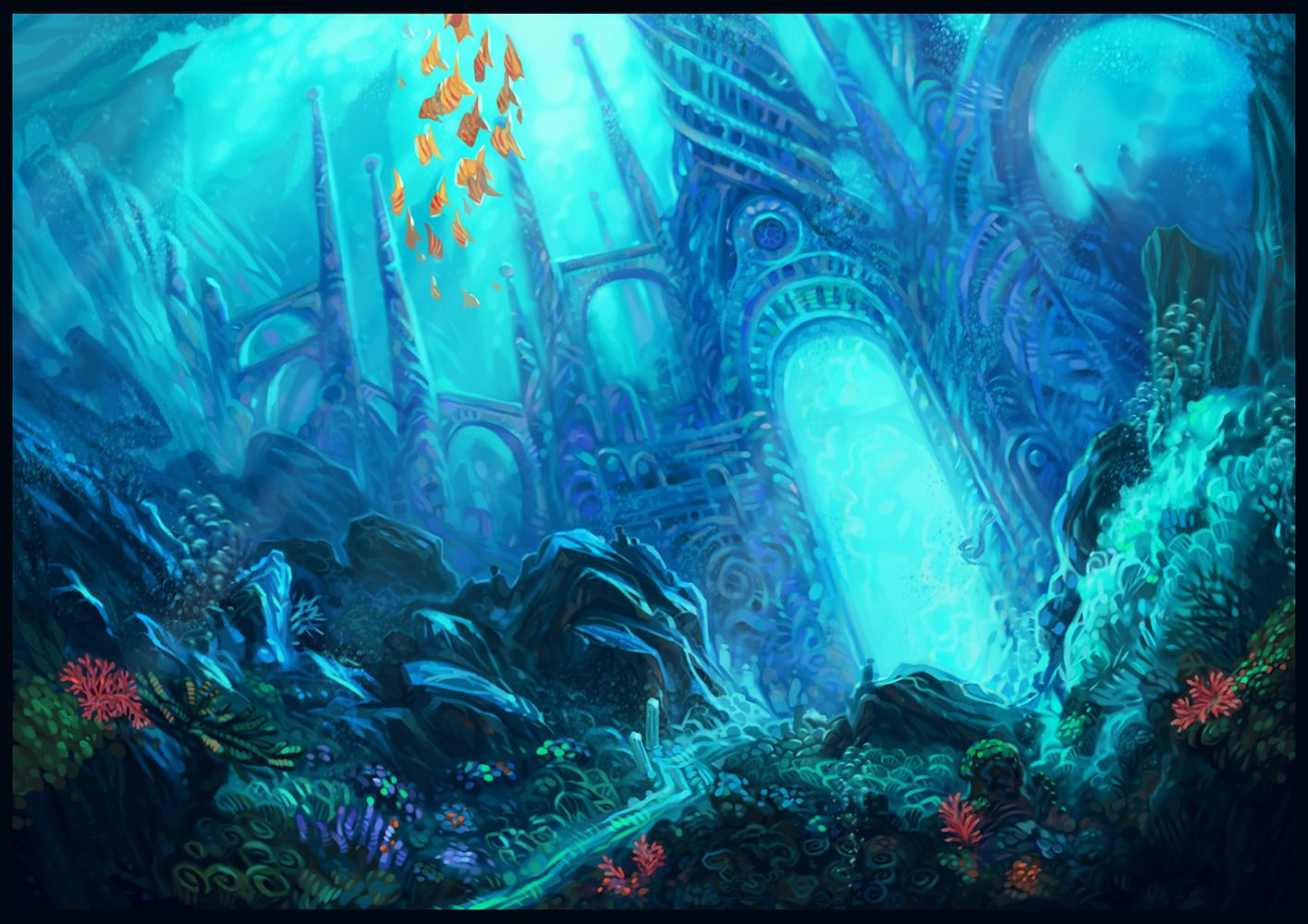 Latest 1415 1000 Underwater City Fantasy Landscape Underwater Painting