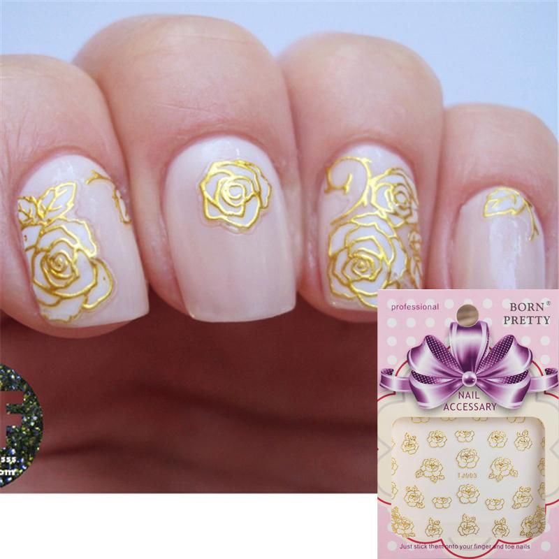 Gold 3d Nail Art Sticker Delicate Flower Nail Art Stickers And