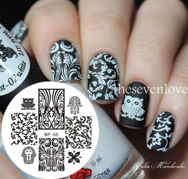 Nagel Schablone Nail Art Stamp Template Stamping Image Plate #BP-05 ...