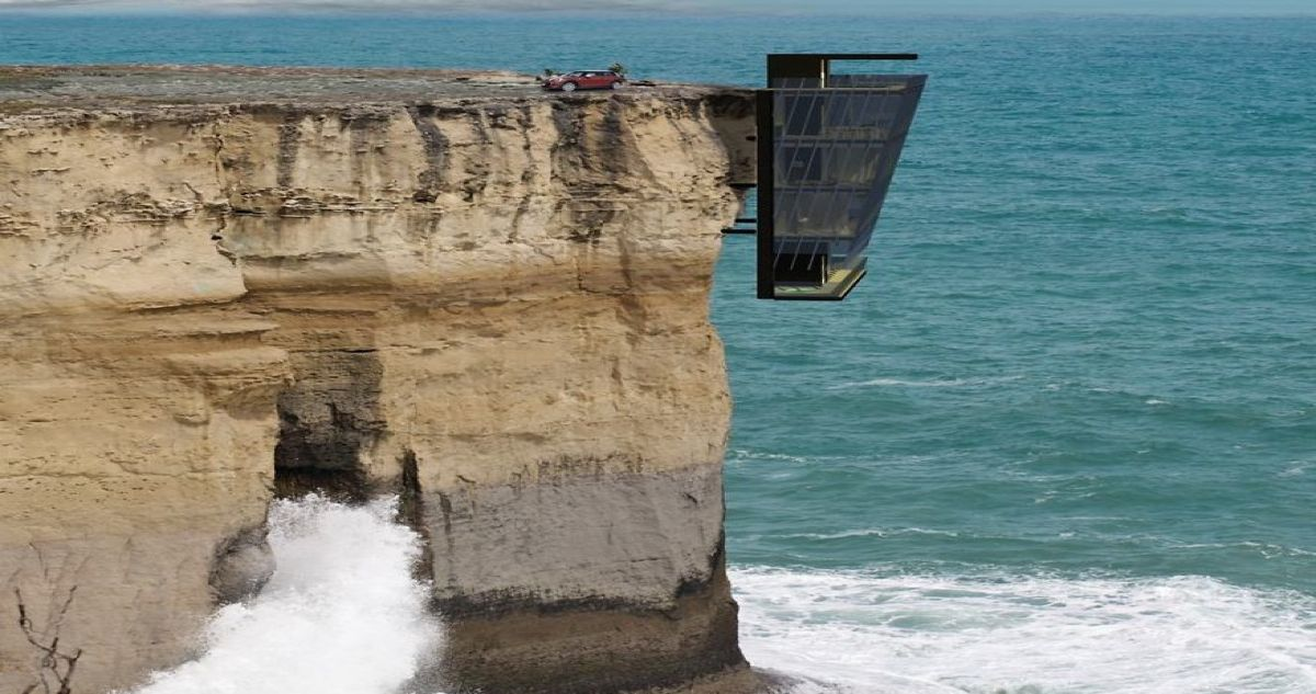 Home In Australia Hangs On Side Of Cliff Suspended Over