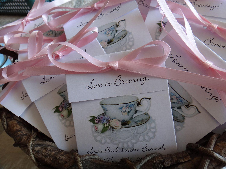 rose medley pink white rose teacup personalized tea bag wedding