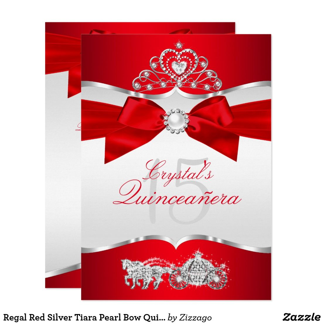Regal Red Silver Tiara Pearl Bow Quinceanera Invitation | { Happy ...