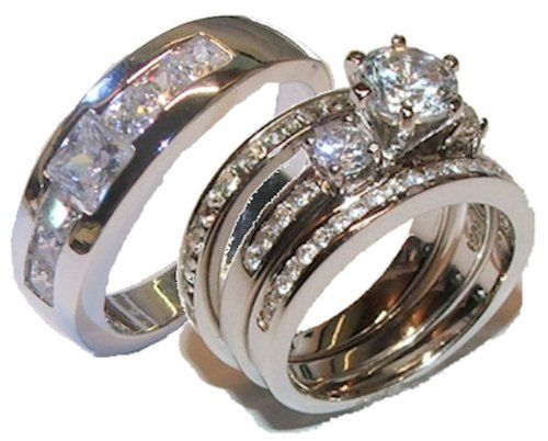 Edwin Earls His Her 4 Piece Wedding Ring Set Sterling Silver