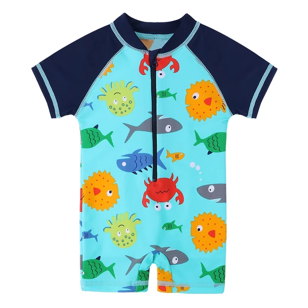 Under The Sea Boys Bathing Suit Get Coverage From The Sun While Enjoying The Beach Zipper Down The Front For Ea Boy Swimsuits Baby Boy Swimwear Baby Swimsuit