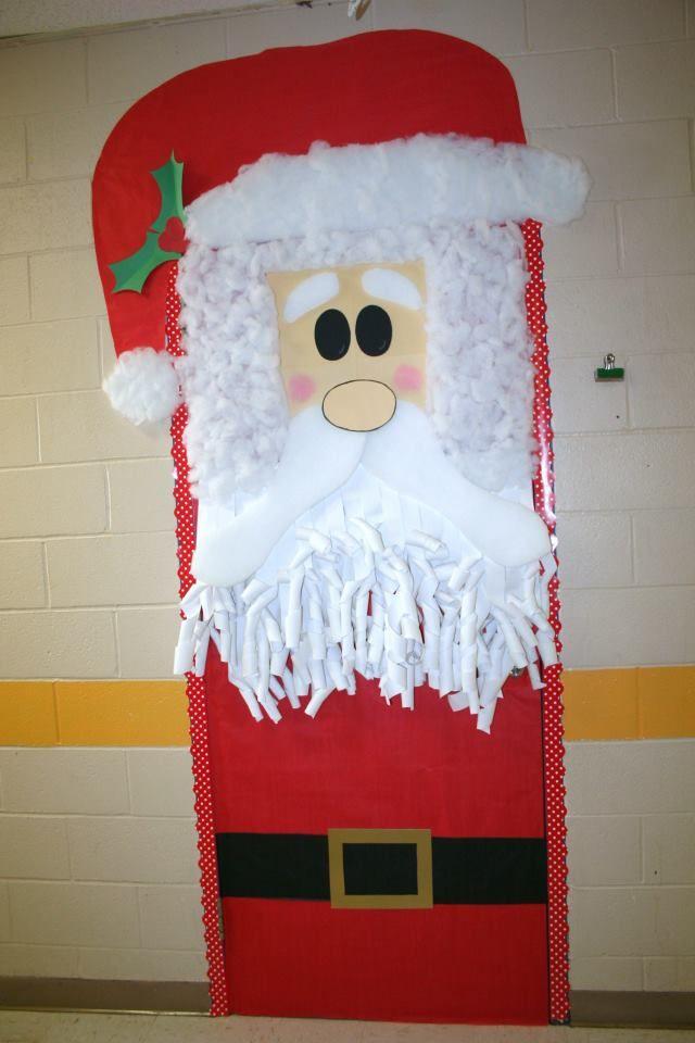 Classroom santa door decoration porte de classe for Puertas decoradas santa claus