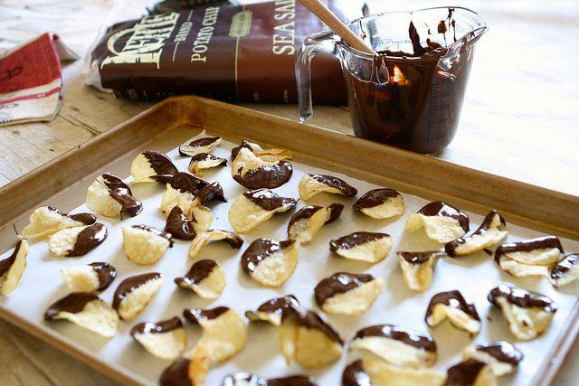 Chocolate Covered Potato Chips - 1 /2 (8.5 oz.) Kettle Brand Sea Salt Potato Chips; 1 c semi-sweet Chocolate Chips; Coarse Kosher Salt