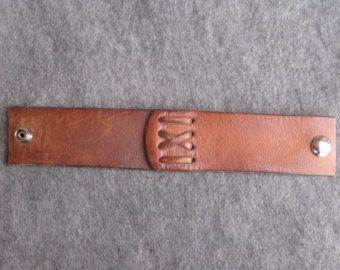45 mm pulsera de cuero marrón hombres mujeres de por MadeInRainbow