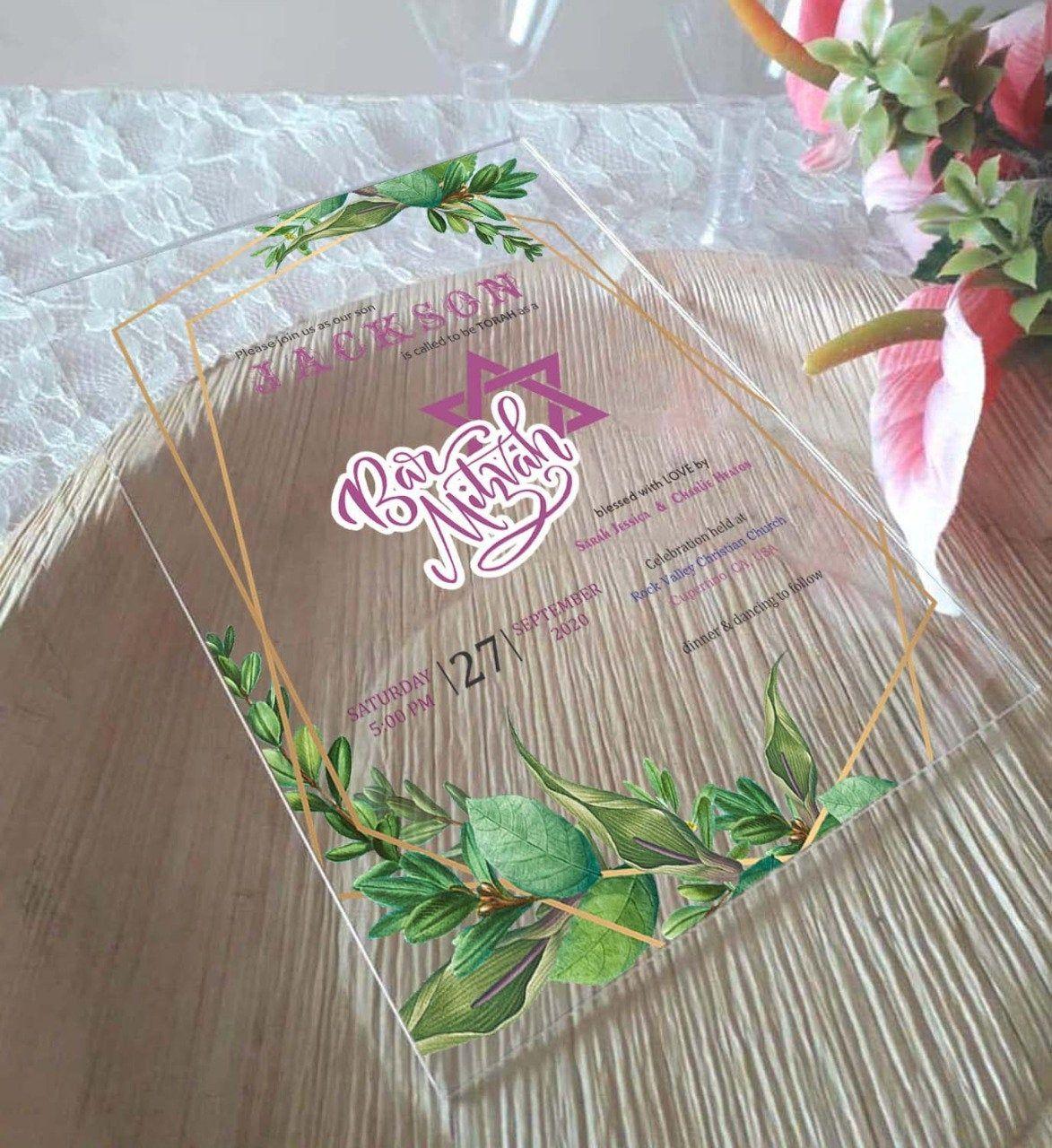 Acrylic Boxed Invitations Envelope or Rigid Cardboard