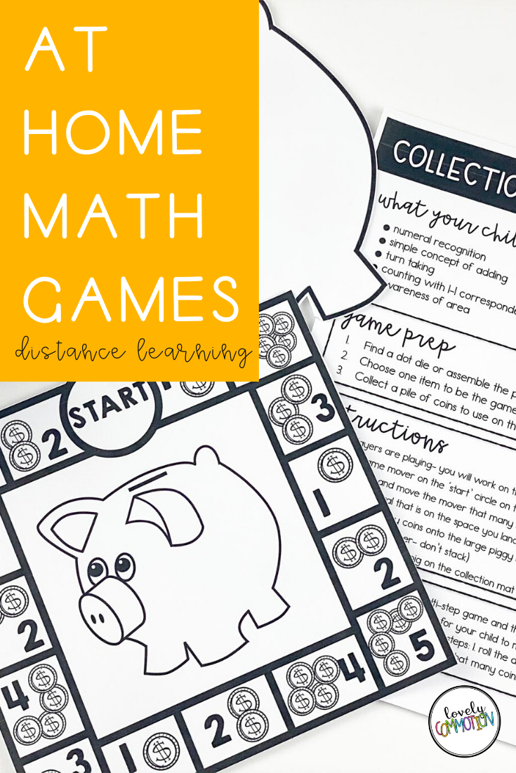At Home Math Games for PreK Distance Learning in 2020